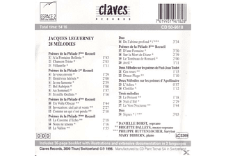 BORST, DANIELLE/BALLEYS, BRIGITTE/H - Leguerney,Jacques: 28 Melodies  - (CD)