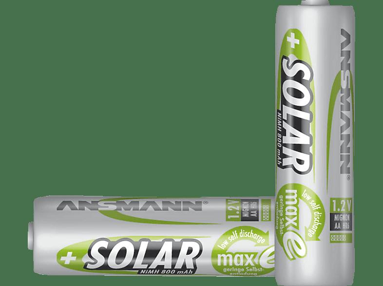 ANSMANN Solar NiMH Akku Mignon AA 800mAh maxE 2er Blister Akku AA Mignon Batterien Ni-MH 2 Stück