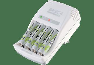 ANSMANN Basic 4 Plus Ladegerät, 4x 1.45V - Rundzellen, 1x 10.5V - 9V-Block Volt Micro AAA: 50mA (1-4), Mignon AA: 150mA (1-4), 9V-Block: 15mA (1), Weiß