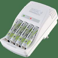 ANSMANN Basic 4 Plus Ladegerät, 4x 1.45V - Rundzellen, 1x 10.5V - 9V-Block Volt, Weiß