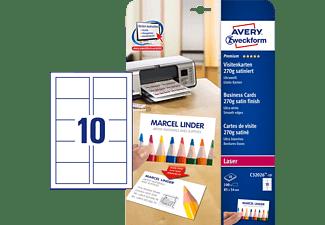 AVERY ZWECKFORM C32026-10 Premium Visitenkarten 85 x 54 mm 85 x 54 mm A4  100 Karten / 10 Bogen