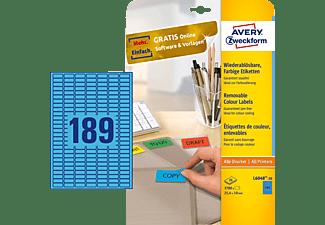 AVERY ZWECKFORM L6048-20 Farbige Etiketten 25,4 x 10 mm 25,4 x 10 mm A4  3.780 Etiketten / 20 Bogen
