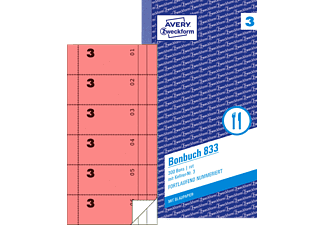 AVERY ZWECKFORM 833 Bonbuch 105 x 198 mm 105 x 198 mm  2x50 Blatt