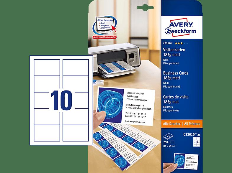 Avery Zweckform C32010 25 Visitenkarten 85 X 54 Mm 85 X 54 Mm A4 250 Karten 25 Bogen