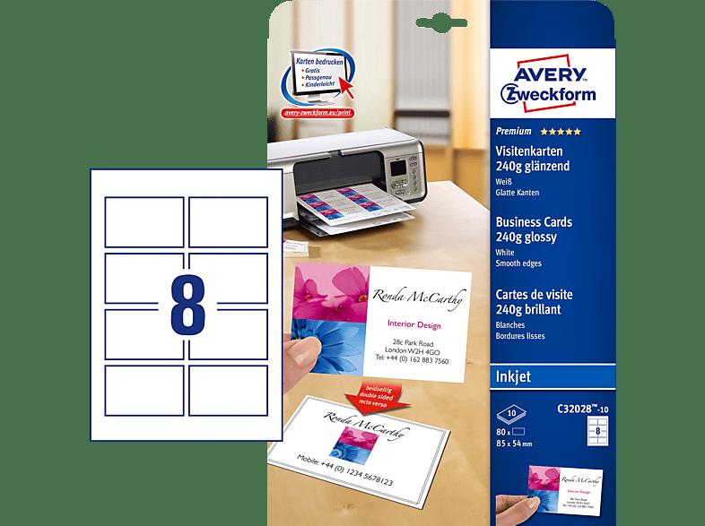 Avery Zweckform C32028 10 Visitenkarten 85 X 54 Mm 85 X 54 Mm A4 80 Karten 10 Bogen