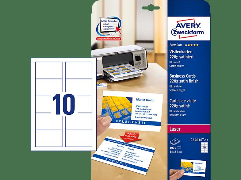 Avery Zweckform C32016 10 Visitenkarten 85 X 54 Mm 85 X 54 Mm A4 100 Karten 10 Bogen