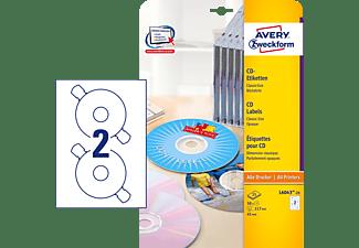 AVERY ZWECKFORM L6043-25 CD-Etiketten ClassicSize Ø 117 mm Ø 117 mm A4  50 Etiketten / 25 Bogen