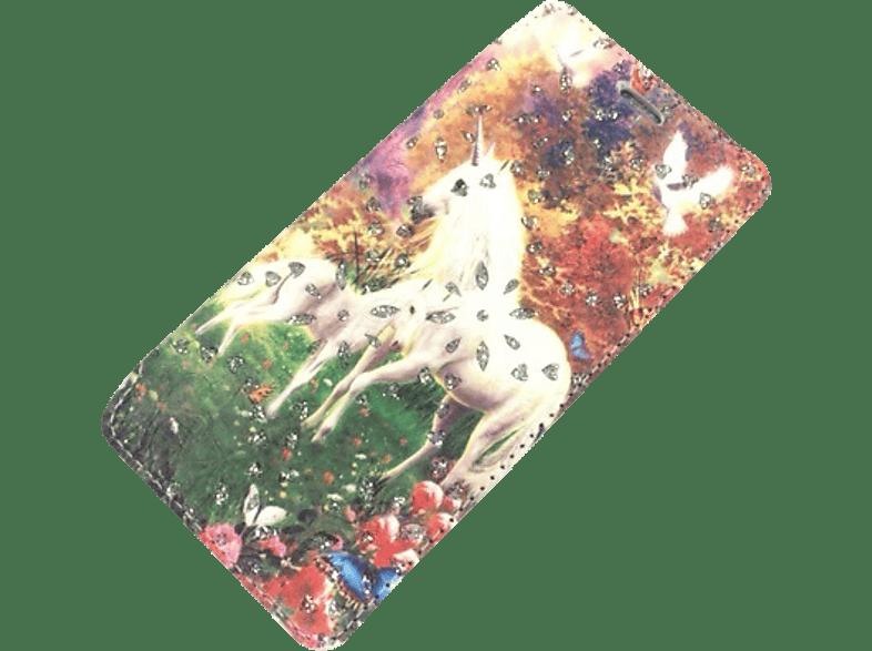 AGM 26766 Bookstyle Einhorn , Bookcover, Samsung , Galaxy J5 (2016), Kunstleder/Thermoplastisches Polyurethan, Mehrfarbig