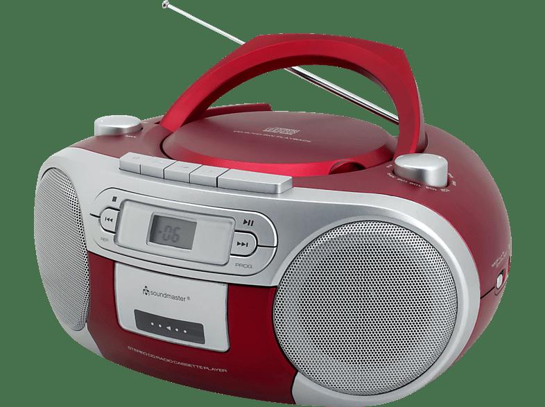 SOUNDMASTER SCD5410 mit Kassettendeck Radiorecorder (Rot)