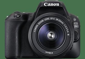 CANON EOS 200D Kit Spiegelreflexkamera, Full HD, 18-55 mm Objektiv (DC, EF-S), Touchscreen Display, WLAN, Schwarz