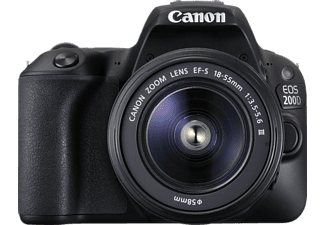 CANON EOS 200D Kit Spiegelreflexkamera, 24.2 Megapixel, Full HD, 18-55 mm Objektiv (DC, EF-S), Touchscreen Display, WLAN, Schwarz