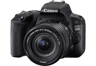 CANON EOS 200D Kit Spiegelreflexkamera, Full HD, 18-55 mm Objektiv (EF-S, IS, STM), Touchscreen Display, WLAN, Schwarz