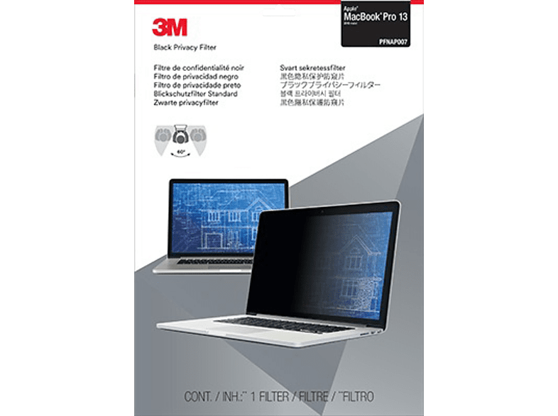 3M PFNAP007 Blickschutzfilter Standard für Apple® MacBook Pro® 13 Zoll (2016 Modell), Blickschutzfilter