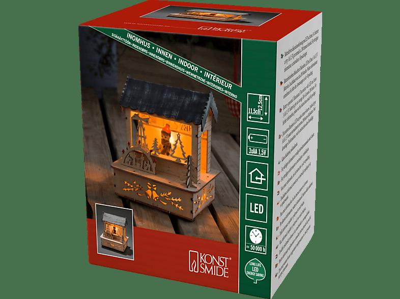 KONSTSMIDE 2823-100 Marktstand mit grauem Dach LED Holzsilhouette,  Natur,  Warmweiß