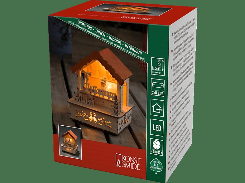 KONSTSMIDE 2821-100 Marktstand mit orangem Dach LED Holzsilhouette,  Natur,  Warmweiß