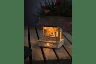 KONSTSMIDE 2822-100 Marktstand mit braunem Dach LED Holzsilhouette,  Natur,  Warmweiß