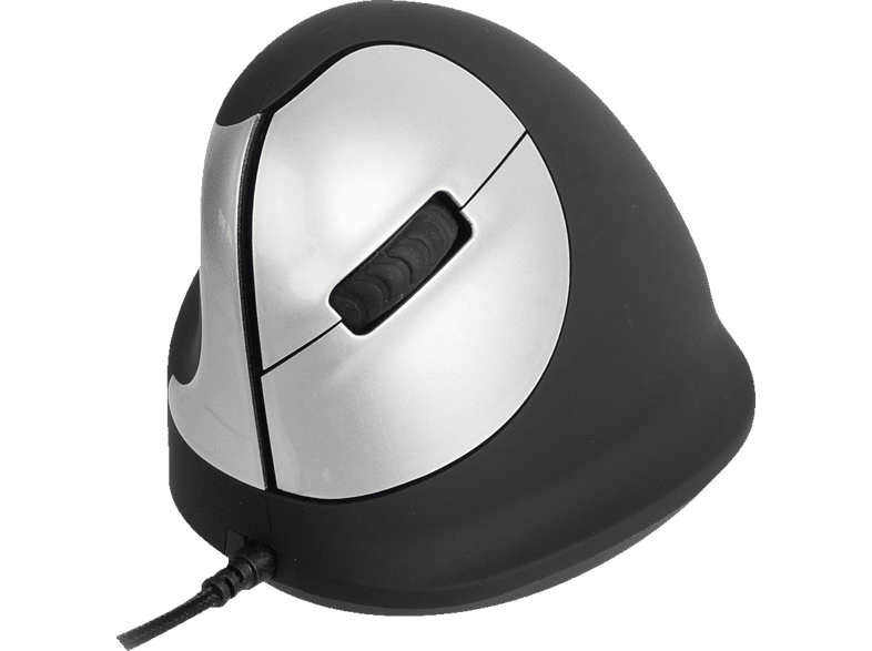 R-GO HE Mouse ergonomische vertikale Linkshänder Maus, Schwarz/Silber