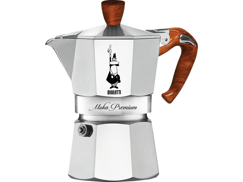BIALETTI Moka Express Wood Espressokocher Silber/Schwarz