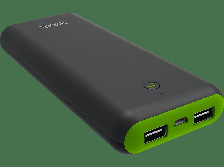TERRATEC P5 Mobiles Ladegerät mit 2 USB Ladeports 20.100 mAh Grau/Grün