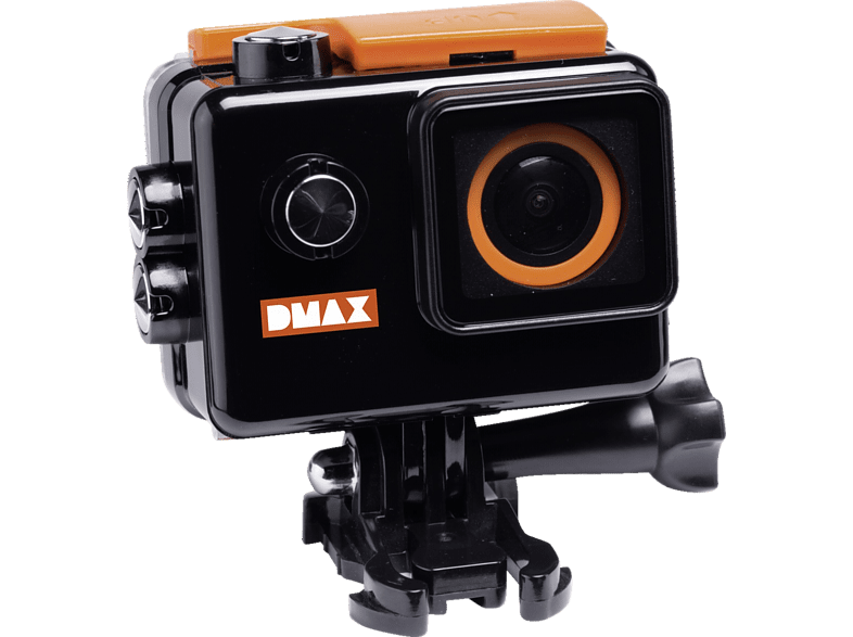 DMAX 4K FHD Action Cam, Extremsport, Freizeitsport, Wassersport, Schwarz/Orange