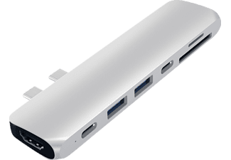 SATECHI Type-C Pro Hub mit 4K HDMI, USB-Hub, Silber
