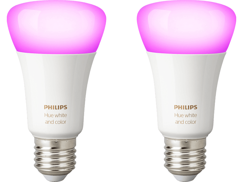 PHILIPS Hue White & Color Ambiance Doppelpack LED Leuchtmittel, Weiß