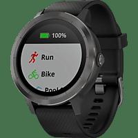 GARMIN  vívoactive 3 Smartwatch Faserverstärktes Polymer und Edelstahl, Silikon, 127-204 mm, Grau/Schwarz
