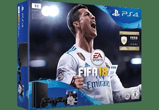 SONY PlayStation 4 1TB Schwarz + FIFA 18 + 2. DualShock4 Controller + PS Plus 14 Tage