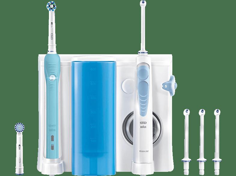 ORAL-B WaterJet Reinigungssystem - Munddusche + PRO 700 Mundpflegecenter Weiß/Dunkelblau
