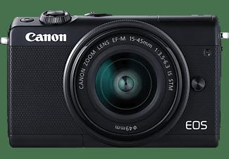 CANON EOS M100 Body Systemkamera mit Objektiv 15-45 mm f/6.3, 7,5 cm Display Touchscreen, WLAN
