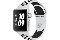 APPLE Watch Nike+ (GPS) 38 mm Smartwatch Aluminium Hochleistungs-Fluorelastomer, 130-200 mm, Silber mit Nike Sportarmband Pure Platinum/Schwarz