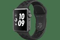 APPLE Watch Nike+ (GPS) 38 mm Smartwatch Aluminium Hochleistungs-Fluorelastomer, 130-200 mm, Space Grau mit Nike Sportarmband Anthrazit/Schwarz