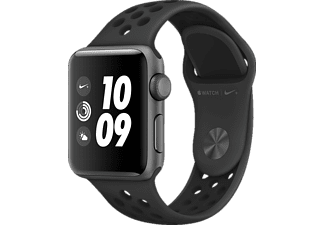APPLE Watch Nike+ (GPS) 38 mm, Smartwatch, Hochleistungs-Fluorelastomer, 130-200 mm, Space Grau mit Nike Sportarmband Anthrazit/Schwarz