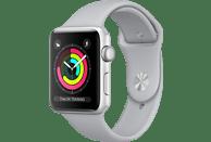 APPLE Watch Series 3 (GPS) 38 mm Smartwatch Aluminium Hochleistungs-Fluorelastomer, 130-200 mm, Silber mit Sportarmband Nebel