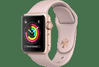 APPLE Watch Series 3 (GPS) 38 mm Smartwatch Aluminium Hochleistungs-Fluorelastomer, 130-200 mm, Gold mit Sportarmband Sandrosa