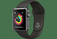 APPLE Watch Series 3 (GPS) 38 mm Smartwatch Aluminium Hochleistungs-Fluorelastomer, 130-200 mm, Space Grau mit Sportarmband Grau
