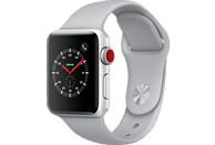 APPLE Watch Series 3 (GPS + Cellular) 38 mm Smartwatch Aluminium Hochleistungs-Fluorelastomer, 130-200 mm, Silber mit Sportarmband Nebel