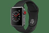 APPLE Watch Series 3 (GPS + Cellular) 38 mm Smartwatch Aluminium Hochleistungs-Fluorelastomer, 130-200 mm, Space Grau mit Sportarmband Schwarz