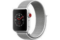 APPLE Watch Series 3 (GPS + Cellular) 38 mm Smartwatch Aluminium Gewebtes Nylon, 130-190 mm, Silber mit Sport Loop Muschel