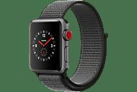 APPLE Watch Series 3 (GPS + Cellular) 38 mm Smartwatch Aluminium Gewebtes Nylon, 130-190 mm, Space Grau mit Sport Loop Dunkeloliv