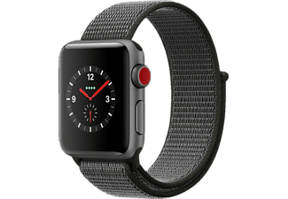 APPLE Watch Series 3 (GPS + Cellular) 38 mm, Smartwatch, Gewebtes Nylon, 130-190 mm, Space Grau mit Sport Loop Dunkeloliv