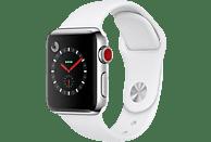 APPLE Watch Series 3 (GPS + Cellular) 38 mm Smartwatch Edelstahl Hochleistungs-Fluorelastomer, 130-200 mm, Edelstahl mit Sportarmband Soft Weiß