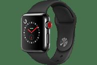 APPLE Watch Series 3 (GPS + Cellular) 38 mm Smartwatch Edelstahl Hochleistungs-Fluorelastomer, 130-200 mm, Space Schwarz mit Sportarmband Schwarz