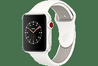 APPLE Watch Edition Series 3 (GPS + Cellular) 38 mm Smartwatch Keramik Hochleistungs-Fluorelastomer, 130-200 mm, Weiß mit Sportarmband Soft Weiß/Kiesel