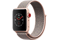 APPLE Watch Series 3 (GPS + Cellular) 38 mm Smartwatch Aluminium Nylon, 130-190 mm, Gold mit Sport Loop Sandrosa