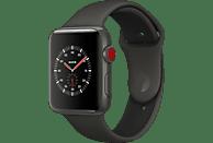 APPLE Watch Edition Series 3 (GPS + Cellular) 38 mm Smartwatch Keramik Kunststoff, 130-200 mm, Grau mit Sportarmband Soft Grau/Schwarz