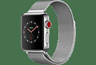 APPLE Watch Series 3 (GPS + Cellular) 38 mm Smartwatch Edelstahl Edelstahl, 130-180 mm, Edelstahl mit Milanaise Armband
