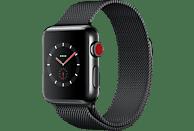 APPLE Watch Series 3 (GPS + Cellular) 38 mm Smartwatch Edelstahl Edelstahl, 130-180 mm, Space Schwarz mit Milanaise Armband Space Schwarz