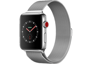 APPLE Watch Series 3 (GPS + Cellular) 42 mm, Smartwatch, Edelstahl, 150-200 mm, Edelstahl mit Milanaise Armband