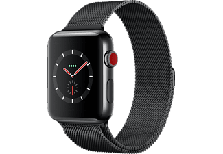 APPLE Watch Series 3 (GPS + Cellular) 42 mm, Smartwatch, Edelstahl, 150-200 mm, Space Schwarz mit Milanaise Armband Space Schwarz